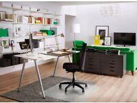 IKEA THYGE Desk (White/Silver)