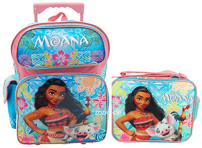Disney Moana Rolling Large 16  Backpack And Lunchbox 2Pc New