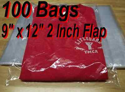 "100 - 9"" x 12"" Clear Poly T- Shirt Plastic Apparel Bags 2"" Flap *BEST QUALITY*"