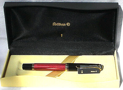 Pelikan R600 Roller Ball Pen Red & Black Gold Trim New in Box Product