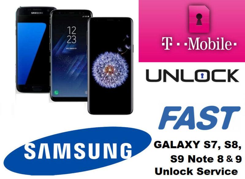 Instant Tmobile SAMSUNG GALAXY S7 S8 S8+ S9 S9+ Note 8 & 9 Unlock Remote Service
