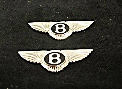 TWO / GENUINE Bentley NEW badges chrome with black enamel