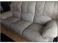 Leather Sofa 3 Seater Recliner (Cream/Beige)