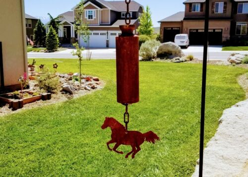 Rusty Mustang Horse Bell windchime- rust finish - country animal barn home decor