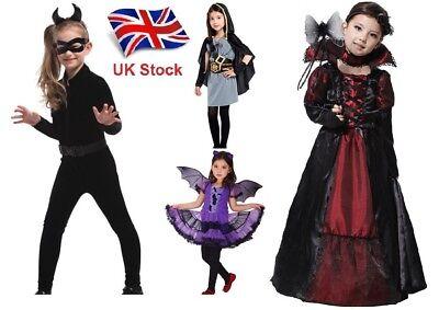 UK Stock Girls Halloween Fancy Dress Bat / Vampire / Cat / Hunter Outfit 3-8 Y (Vampire Hunter Kostüm)