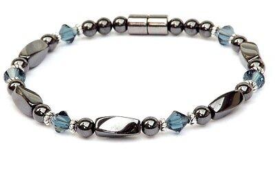 Magnetic Bracelet Anklet Necklace with MONTANA SAPPHIRE SWAROVSKI CRYSTAL 1 Row - Magnet Bracelet Necklace