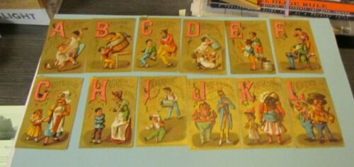 Antique S.D. Sollers Shoes 25 Alphabet Victorian Trade Card Set Great Graphics