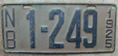 Vintage Original 1925 New Brunswick License Plate.