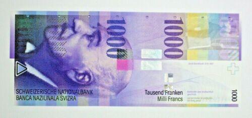 2006 Switzerland 1000 Franken Swiss Francs Banknote 06B0219673 P74c UNC Rare