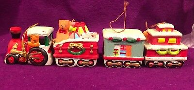 Christmas Ceramic Train 4 pcs Set Tree Ornaments Vtg NIB Old Stock 2-2.5 in each
