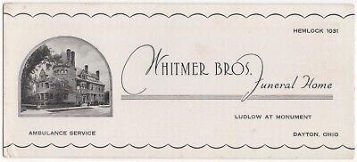 FAIRLY RARE Funeral Home Undertaker Advertising Ink Blotter Dayton Ohio OH