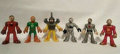 """IMAGINEXT MIXED LOT OF 6 KNIGHTS RED GREEN GRAY 3"""" FIGURES"""