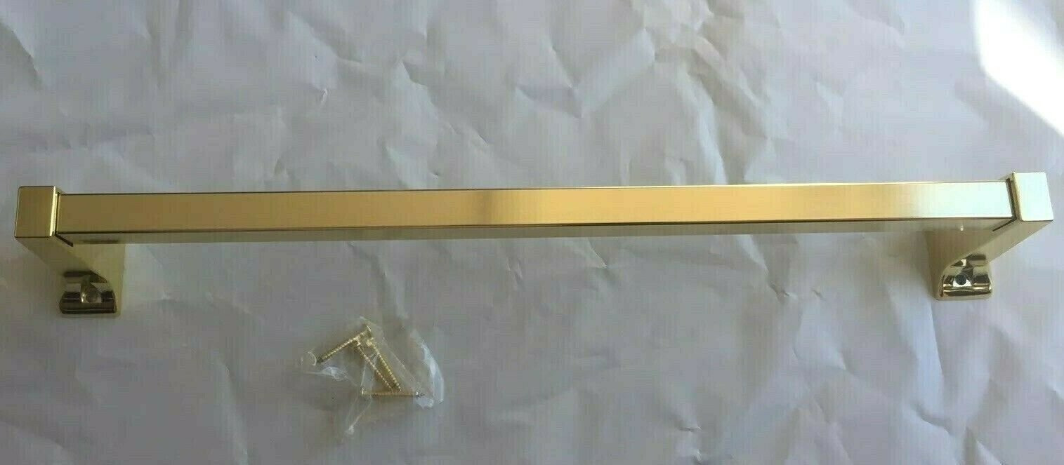"15"" Polished Brass Wall Mounted Single Towel Rail Bar Rack"