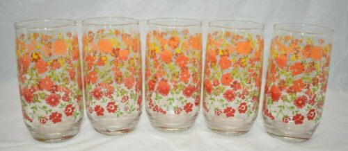 5  Vintage DRINK GLASSES TUMBLERS Red/Orange/Yellow Ombré Floral Flower