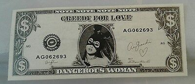 Ariana Grande Dangerous Woman Tour 2017 Stage Used Dollar Bill Prop Greedy Money
