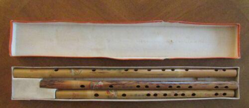SET 3 BAMBOO FLUTES w/ BOX  Tuned SIGNED Dragon carving CHINESE KCF 112