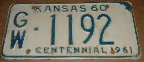 1960 Kansas License Plate GW 1192 Greenwood County Car  Tag