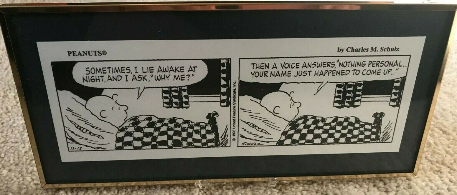 FRAMED PEANUTS CARTOON OF CHARLIE BROWN WITH STAND - NEW IN BOX - $19.95