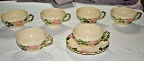 c1940s 7 piece Franciscan Ware Desert Rose Tea Coffee Cups USA