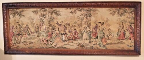 True antique tapestry beautiful hunting party scene dancing drinking multi color