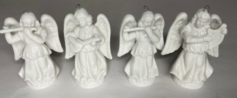 Lot of 4 1988 Schmid Porcelain Angels Christmas Tree Ornament 3""