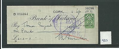 wbc. - CHEQUE - CH937 - USED -1933/37- BANK of IRELAND, CORK