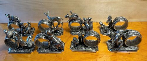 """Set of 8 FRANKLIN MINT 1977 NAPKIN RINGS--ANTIQUED SILVERPLATE-""""ANIMALS AT PLAY"""""""
