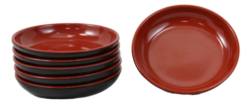 Red Black Melamine Traditional Condiments Soy Sauce Dipping Plate Dish Set Of 6