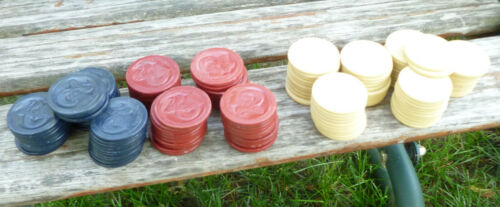 130 Vintage Clay Rams Head Poker Chips Red White Blue