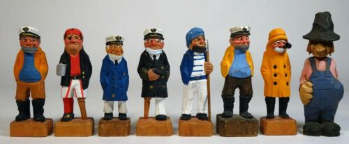 Vintage Carved Painted Wood Lot Nautical FOLK ART Sea Captain-Fishermen-Pirate