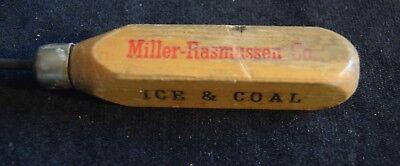 TP-031 Miller-Rasmussen Vintage Wood Handled Ice Pick 8-inch long