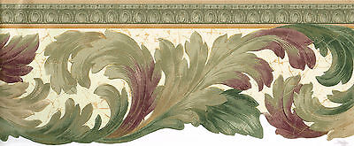 Wallpaper, Wall, bordeR,Victorian Die-Cut Burgundy Green Gold  Molding