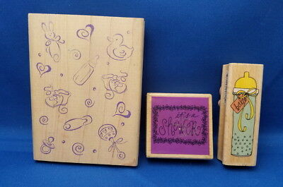 LOT BABY SHOWER - Wooden Rubber Stamp - 3 pc Scrapbook Stamping (Baby Shower Postage Stamps)