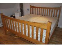 Super King Size solid oak bed and mattress for sale, superb condition. Craftsman made, modern design