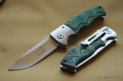 Elk Ridge Green Wood Handle Spring Assisted Knife W  Clip   Razor Sharp   Blade