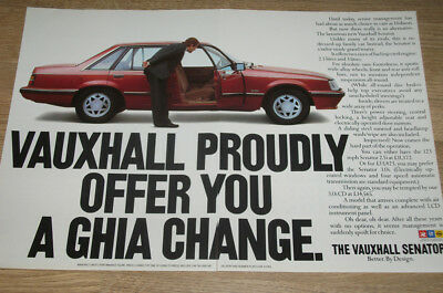 VAUXHALL SENATOR - GHIA CHANGE - magazine CAR ADVERT poster size 12 x 18 in