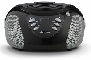 GOODMANS GPS02BLK PORTABLE CD PLAYER STEREO BASS BOOMBOX FM MW RADIO MP3 AUX IN