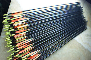 24x-82CM-Archery-hunter-Nocks-Fletched-Arrows-Fiberglass-Target-Practice-Arrow