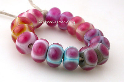 PICK Your PINK Dots Pair *  lampwork glass bead set TANERES sra Dots Lampwork Glass Bead