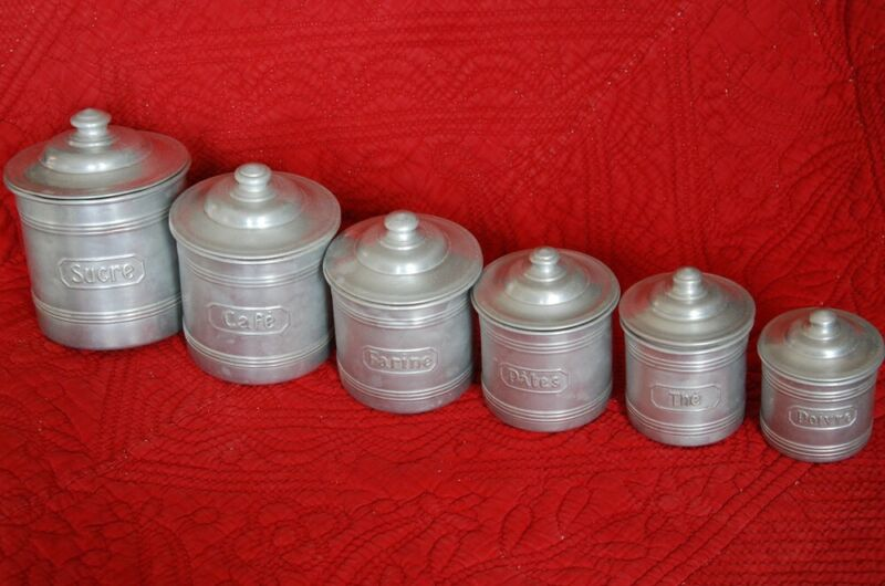 6 PIECE FRENCH ANTIQUE  ALUMINIUM CANISTER SET ~ Mid Century INDUSTRIAL