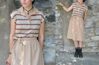 80s Dresses | Casual to Party Dresses RARE 1980s SO CUTE Urban Outfitters Style Vintage Hipster Stripe Polo Dress S $39.99 AT vintagedancer.com