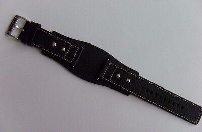 FOSSIL Original Ersatz Lederarmband AM3696 Uhrband watch strap schwarz black 24 (Fossil Schwarz Leder Uhr)