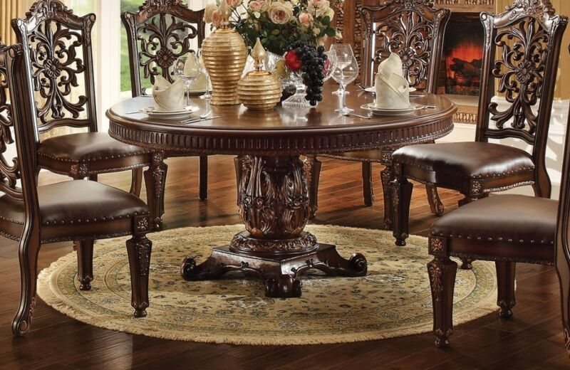 """New Vendome Formal Ornate 72"""" Wood Top Round Dining Table In Brown Cherry, Red"""