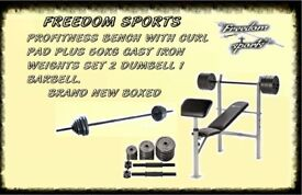 profitness bench with 50kg cast iron BRAND NEW BOXED