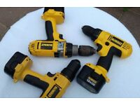 3 Dewalt 12V Drills all with batteries, plus 1 case and 1 charger