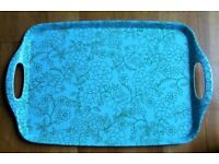 NEW Melamine Tray Turquoise & Green Floral Motif Design Retro Style Kitchen Camping VW Camper Van