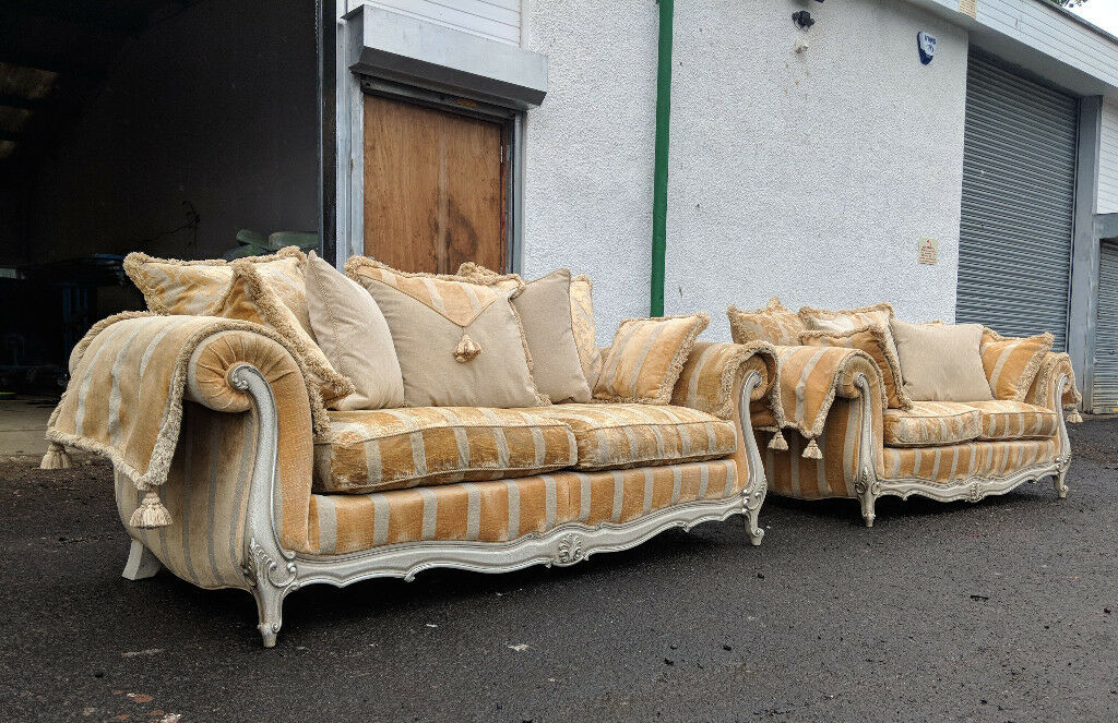 Gascoigne 3 5 2 Seater Copper Crushed Velvet Striped Sofas Delivery Availalble