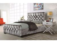 ** CRUSHED VELVET FABRIC ** BRAND NEW DOUBLE SIZE CHESTERFIELD BED FRAME IN BLACK SILVER AND CREAM