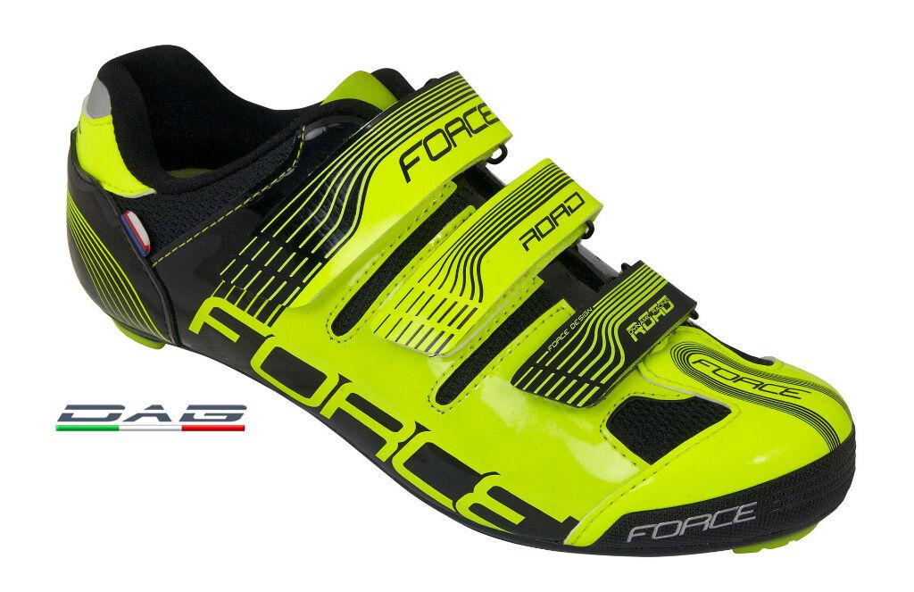 Force Road Scarpe Bici da Corsa Nero / Giallo Fluo