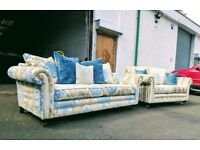 3.5+2.5 Laura Ashely teal and lime damask couches VGC DELIVERY AVAILABLE